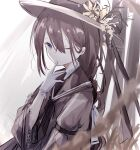 1girl \||/ armband blurry braid braided_ponytail brown_hair brown_neckwear closed_mouth depth_of_field dot_nose finger_to_mouth flower gloves grey_eyes hair_ribbon hat hat_flower hat_ribbon highres long_hair looking_at_viewer miyu_(miy_u1308) neckerchief one_eye_closed original ribbon sailor_collar shiny shiny_hair single_braid solo upper_body white_gloves white_ribbon