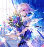1girl ahoge bare_arms black_choker blue_eyes blue_flower blue_theme bouquet choker chromatic_aberration closed_mouth cowboy_shot criss-cross_halter curtains dress expressionless feathers flower fuzichoco hair_between_eyes halterneck highres holding looking_at_viewer original purple_flower rose short_hair silver_hair solo standing white_dress