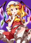 1girl ascot blonde_hair bow collared_shirt crystal eyebrows_visible_through_hair flandre_scarlet frilled_skirt frills hair_between_eyes hair_bow hat highres long_hair looking_at_viewer mob_cap open_mouth petticoat purple_background red_bow red_eyes red_skirt red_vest ruu_(tksymkw) shirt short_sleeves side_ponytail simple_background skirt smile solo touhou vest white_headwear white_legwear white_shirt wings yellow_neckwear