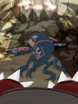 black_sclera claws colored_sclera commentary_request gen_3_pokemon glowing groudon kyogre legendary_pokemon looking_back no_humans pokemon pokemon_(creature) pov shachichi wet yellow_eyes