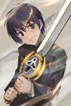 1boy absurdres black_eyes black_hair closed_mouth dust dust_cloud eyebrows_visible_through_hair highres holding holding_sword holding_weapon ikuyoan kyou_kara_maou! male_focus school_uniform shibuya_yuuri signature smile solo sword uniform weapon