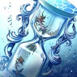 bubble commentary_request dragalge gen_6_pokemon glass highres hourglass leaf looking_to_the_side no_humans pokemon pokemon_(creature) red_eyes skrelp water_surface yukichi_(tsuknak1)