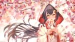 1girl :3 :d bangs black_hair blush bride cherry_blossoms eyelashes flower hair_between_eyes hair_ornament hairclip highlights highres hololive hood japanese_clothes kimono komanegi long_hair looking_at_viewer multicolored_hair ookami_mio open_mouth redhead smile solo uchikake upper_body very_long_hair virtual_youtuber wedding white_kimono wind yellow_eyes