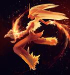 blaziken blue_eyes claws colored_sclera commentary_request fire full_body fusenryo gen_3_pokemon highres no_humans open_mouth pokemon pokemon_(creature) solo spikes tongue yellow_fur yellow_sclera