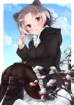 1girl alternate_costume american_beaver_(kemono_friends) animal_ears bangs beaver_ears black_collar black_footwear black_legwear blue_sky blurry blurry_foreground boots brown_eyes casual clouds cloudy_sky collar commentary contemporary day depth_of_field eyebrows_visible_through_hair grey_hair hair_ornament hairclip hand_in_hair highres hood hood_down hooded_coat kemono_friends kinou_no_shika knee_boots long_sleeves looking_at_viewer miniskirt multicolored_hair open_mouth outdoors outside_border pantyhose parted_bangs pleated_skirt short_hair sitting skirt sky smile snow solo white_hair white_skirt