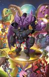 1girl 6+boys back-to-back bat_wings beast_wars character_request cheetor clenched_hand comic_cover cover cover_page dinobot dyemooch english_commentary flying glowing glowing_eyes hands_together head_to_head highres looking_down maximal mecha megatron megatron_(beast_wars) multiple_boys no_humans official_art open_hand optimus_primal predacon rattrap red_eyes rhinox scorponok sharp_teeth standing tarantulas teeth terrorsaur textless transformers visor waspinator wings yellow_eyes
