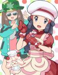 2girls alcremie alcremie_(strawberry_sweet) apron bike_shorts black_hair brown_hair buttons chef_hat collarbone commentary_request dawn_(pokemon) dress eyelashes gen_8_pokemon green_headwear green_jacket grey_eyes hat head_tilt holding index_finger_raised jacket leaf_(pokemon) long_sleeves looking_at_viewer microphone mittens multiple_girls open_mouth pink_shirt pokemoa pokemon pokemon_(creature) pokemon_(game) pokemon_masters_ex polka_dot polka_dot_background red_dress red_mittens shirt short_sleeves smile sunglasses tongue