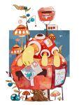 animal_focus arrow_(symbol) berry_(pokemon) black_eyes blank_eyes bug commentary full_body gen_2_pokemon jpeg_artifacts kamonabe_(kamonabeekon) mouth_hold mushroom no_humans oran_berry pokemon pokemon_(creature) postage_stamp postbox_(outgoing_mail) postcard shuckle solo spider traditional_media watercolor_(medium) |_|