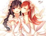 2girls ;d black_hair braid bridal_veil brown_hair cheek_kiss closed_eyes dress elbow_gloves gloves kantai_collection kiss kitakami_(kantai_collection) long_hair multiple_girls one_eye_closed ooi_(kantai_collection) open_mouth smile toosaka_asagi veil violet_eyes wedding_dress wife_and_wife yuri