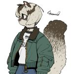 1girl animal_ears black_choker black_eyes blue_pants brown_fur brown_hair choker closed_mouth colored_skin dark_skin denim furry green_jacket grey_fur grey_hair grey_skin jacket jeans large_tail long_sleeves multicolored multicolored_fur multicolored_hair multicolored_skin open_clothes open_jacket original pants profile puffy_long_sleeves puffy_sleeves shirt short_hair signature simple_background solo sparrowl squirrel_ears squirrel_girl squirrel_tail standing sugar_glider tail two-tone_fur two-tone_hair two-tone_skin white_background white_shirt