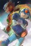 2boys absurdres chromatic_aberration closed_mouth diffraction_spikes energy_sword glitch green_eyes helmet highres holding holding_sword holding_weapon ikuyoan long_hair multiple_boys parted_lips robot rockman rockman_x signature sword weapon x_(rockman) zero_(rockman)