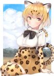 1girl animal_ear_fluff animal_ears black_neckwear blonde_hair blue_sky bow bowtie closed_mouth clouds cloudy_sky day elbow_gloves eyebrows_visible_through_hair fur_collar gloves high-waist_skirt highres invisible_chair jaguar_(kemono_friends) jaguar_ears jaguar_print jaguar_tail kemono_friends kinou_no_shika looking_at_viewer outdoors outside_border print_gloves print_legwear print_skirt shirt short_hair short_sleeves sitting skirt sky smile solo symbol_commentary tail thigh-highs white_shirt yellow_eyes yellow_gloves yellow_legwear yellow_skirt