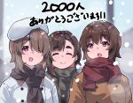 3girls :o asymmetrical_hair beret brown_hair coat hair_over_one_eye hat highres hoshinomiya_haruna hoshinomiya_kaene hoshinomiya_nayuki kimi_tsuru lips multiple_girls open_mouth original red_eyes scarf short_hair siblings sisters smile snow thick_eyebrows upper_body winter_clothes
