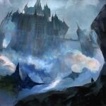 1other blue_theme castle cloak clouds cloudy_sky fantasy floating highres momokurianzu original outdoors scenery sky solo standing