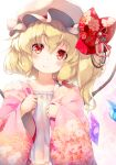 1girl bangs blonde_hair blush bow camisole closed_mouth collarbone commentary_request crystal eyebrows_visible_through_hair fang fang_out flandre_scarlet floral_print gengetsu_chihiro hair_between_eyes hands_up hat japanese_clothes kimono long_hair long_sleeves mob_cap one_side_up open_clothes open_kimono pink_kimono red_bow red_eyes sleeves_past_wrists smile solo touhou upper_body white_camisole white_headwear wide_sleeves wings