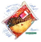 english_text food food_focus food_request highres momiji_mao no_humans original pastry plastic_wrap signature simple_background still_life translation_request white_background