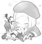2girls akamakoto bangs beret blush chaldea_uniform coat eating fate/grand_order fate_(series) food fork fruit fujimaru_ritsuka_(female) giant giantess gloves greyscale hat lying monochrome multiple_girls on_stomach pancake parted_bangs paul_bunyan_(fate/grand_order) plate short_hair smile watermelon