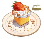 cake cream dessert english_text food food_focus fruit highres momiji_mao no_humans original pastry plate signature simple_background still_life strawberry white_background
