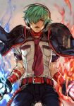 1boy aura bandages belt black_jacket blue_fire capelet choker fingerless_gloves fire gloves green_hair hair_over_one_eye headphones high_collar hungry_clicker jacket jacket_on_shoulders male_focus necktie red_belt red_eyes shun'ei solo the_king_of_fighters