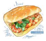 bread broccoli food food_focus highres momiji_mao no_humans original pastry seafood shrimp signature simple_background still_life translation_request vegetable white_background