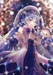 1girl :d blue_eyes blue_hair blue_ribbon blurry blurry_background book coat eyebrows_visible_through_hair gloves hair_between_eyes hatsune_miku holding holding_book long_hair long_sleeves open_mouth outstretched_hand ribbon smile snowflakes solo treble_clef twintails vocaloid winter_clothes winter_coat yashirupe yuki_miku yuki_miku_(2021)