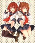2girls black_legwear brown_eyes brown_hair fang folded_ponytail hair_ornament hairclip highres ikazuchi_(kantai_collection) inazuma_(kantai_collection) kantai_collection locked_arms long_sleeves looking_at_viewer multiple_girls neckerchief open_mouth pleated_skirt red_neckwear school_uniform serafuku short_hair skirt thigh-highs toosaka_asagi zettai_ryouiki