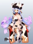 1girl :o animal_ears animal_print arms_at_sides bangs bikini bikini_under_clothes blue_hair bow choker collarbone cow_ears cow_girl cow_hat cow_print cow_tail cropped_legs detached_sleeves earrings gradient_hair granblue_fantasy highleg highleg_bikini highres jewelry long_hair long_sleeves looking_at_viewer multicolored_hair navel notte parted_lips print_legwear print_sleeves purple_hair red_eyes see-through shatola_(granblue_fantasy) solo stomach swimsuit tail tail_bow tail_ornament tassel thigh-highs very_long_hair white_bikini white_bow white_choker white_legwear wide_sleeves