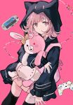 animal_ears backpack bag beige_skirt brown_skirt cat_bag danganronpa_(series) danganronpa_2:_goodbye_despair diaper fake_animal_ears flipped_hair hair_ornament hairclip handheld_game_console highres hood hooded_jacket jacket looking_at_viewer medium_hair monomi_(danganronpa) namiharuru nanami_chiaki pink_background pink_bag pink_eyes pink_hair skirt