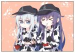 >_< 2girls akatsuki_(kantai_collection) alternate_costume anchor_symbol animal_print black_headwear blue_eyes bowl chopsticks closed_eyes commentary_request cow_print eating flat_cap hat hibiki_(kantai_collection) highres holding holding_bowl holding_chopsticks hood hooded_sweater hoodie kantai_collection long_hair mochi mochi_trail multiple_girls pink_background purple_hair silver_hair sweater upper_body yoshinao_(yoshinao_0203) zouni_soup