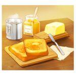 bread bread_slice butter english_text food food_focus glass honey honey_dipper jar knife napkin no_humans okaka516 original steam still_life toast wooden_table