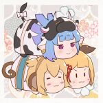 3girls :> :3 andira_(granblue_fantasy) animal_ears animal_print bangs blonde_hair blue_hair blush bow closed_eyes closed_mouth commentary_request cow_ears cow_girl cow_horns cow_print cow_tail dog_ears ear_piercing erune eyebrows_visible_through_hair floral_background gradient_hair granblue_fantasy hair_ornament horns monkey_ears monkey_girl monkey_tail multicolored_hair multiple_girls piercing purple_hair shatola_(granblue_fantasy) short_eyebrows tail tail_bow tail_ornament thick_eyebrows two_side_up uneg v-shaped_eyebrows vajra_(granblue_fantasy) violet_eyes white_bow |_|