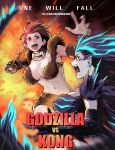 2girls abs absurdres battle blue_eyes breasts chain copyright_name dora-demon emphasis_lines godzilla godzilla_(series) godzilla_vs_kong highres huge_filesize king_kong king_kong_(character) large_breasts monster_girl multicolored_hair multiple_girls open_mouth personification pointy_ears punching red_eyes short_hair shoulder_spikes spikes tail two-tone_hair