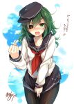 1girl akatsuki_(kantai_collection) akatsuki_(kantai_collection)_(cosplay) blush clenched_hand clouds cosplay covering covering_crotch eyepatch fang green_eyes green_hair hat kantai_collection kiso_(kantai_collection) long_hair looking_at_viewer neckerchief pantyhose pleated_skirt red_neckwear short_hair signature skirt sky solo toosaka_asagi translated