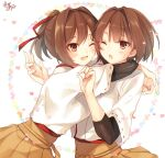 2girls :d ;o brown_eyes brown_hair hug hyuuga_(kantai_collection) ise_(kantai_collection) japanese_clothes kantai_collection long_hair multiple_girls one_eye_closed open_mouth ponytail short_hair signature smile toosaka_asagi