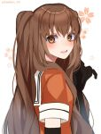 1girl alternate_hair_length alternate_hairstyle black_gloves brown_eyes brown_hair commentary_request elbow_gloves floral_background from_behind gloves highres kantai_collection kozu_(bloomme1_me) looking_at_viewer looking_back open_mouth orange_shirt school_uniform sendai_(kantai_collection) serafuku shirt solo upper_body upper_teeth white_background