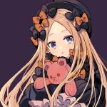 abigail_williams_(fate/grand_order) bangs black_bow black_dress blue_eyes bow dress fate/grand_order fate_(series) forehead hair_bow highres long_hair multiple_hair_bows namiharuru object_hug orange_bow parted_bangs polka_dot polka_dot_bow sleeves_past_fingers sleeves_past_wrists stuffed_animal stuffed_toy teddy_bear