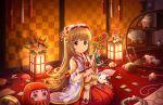 blush brown_eyes brown_hair idolmaster_cinderella_girls_starlight_stage long_hair miko new_year smile wink yorita_yoshino