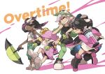 +_+ 4girls :q bangs bike_shorts black_dress black_footwear black_hair black_shorts boots callie_(splatoon) capri_pants chain_necklace closed_mouth crown dark_skin domino_mask dress dual_wielding earrings english_text eyebrows_visible_through_hair eyewear_on_head gradient_hair green_eyes green_jacket green_legwear green_pants grey_footwear grey_hair grin hero_brella_(splatoon) hero_charger_(splatoon) hero_dualies_(splatoon) hero_roller_(splatoon) holding holding_weapon hood hood_up hoodie_dress ink_tank_(splatoon) jacket jewelry long_hair marie_(splatoon) marina_(splatoon) mask mask_pull midriff mole mole_under_eye multicolored_hair multiple_girls navel paint_splatter pants pantyhose parted_lips pearl_(splatoon) pink_dress pink_hair pointy_ears pulled_by_self purple_hair purple_jacket raglan_sleeves shirt shoes short_dress short_hair shorts shorts_under_dress sleeveless sleeveless_shirt smile sneakers splatoon_(series) splatoon_1 splatoon_2 splatoon_2:_octo_expansion suction_cups sunglasses swept_bangs tentacle_hair tied_hair tongue tongue_out weapon white_background white_bandana white_footwear white_shirt wind wong_ying_chee yellow_eyes yellow_headwear