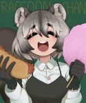 1girl :d animal_ear_fluff animal_ears black_gloves breasts closed_eyes collared_shirt commentary cotton_candy earrings english_commentary facing_viewer gloves grey_hair hands_up highres hot_dog jewelry korean_commentary large_breasts long_sleeves medium_hair mixed-language_commentary multicolored_hair open_mouth original raccoon_ears raccoon_girl raccoon_tail round_teeth shirt signature smile solo sparrowl streaked_hair tail teeth upper_teeth white_shirt wing_collar