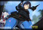 1girl absurdres aircraft airplane belt bird/binary black_hair blue_eyes breasts ciel_(bird/binary) clouds eyebrows_visible_through_hair fighter_jet flying gun handgun highres holding holding_gun holding_weapon jet kalavinka_(bird/binary) las91214 looking_at_viewer looking_down mecha medium_breasts military military_vehicle mole mole_under_eye pistol science_fiction short_hair sky solo thigh-highs utility_belt weapon
