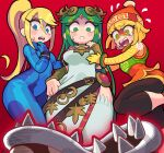 3girls armlet beanie blonde_hair blue_eyes bob_cut bodysuit circlet domino_mask dress forehead_jewel from_below gashi-gashi green_eyes green_hair hat jewelry knit_hat leggings long_hair looking_down mask min_min_(arms) multiple_girls nervous orange_headwear orange_legwear palutena piranha_plant ponytail samus_aran scared shaded_face short_hair shorts simple_background super_smash_bros. sweat sweatdrop thigh-highs zero_suit
