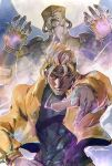 2boys belt blonde_hair bracelet closed_mouth covered_navel diffraction_spikes dio_brando earrings fingernails glowing headband heart highres ikuyoan jewelry jojo_no_kimyou_na_bouken moon multiple_boys outdoors pink_eyes pointing pointing_at_viewer red_eyes signature stand_(jojo) stardust_crusaders the_world