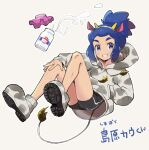 1boy alternate_hair_color bike_shorts blue_hair boots bottle clenched_teeth commentary_request fake_ears fake_tail hairband hand_in_pocket hau_(pokemon) hood hood_down hoodie knees long_hair looking_at_viewer male_focus mikanbako_(aitatadon3) milk milk_bottle moomoo_milk pokemon pokemon_(game) pokemon_sm smile solo tail teeth translation_request violet_eyes
