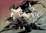 1boy belt black_hair closed_mouth collarbone dated electricity frown hair_between_eyes holding holding_sword holding_weapon male_focus mangekyou_sharingan naruto_(series) naruto_shippuuden red_eyes rope rope_belt scabbard sharingan sheath shirtless signature solo sword uchiha_sasuke unsheathed weapon xxr19911227