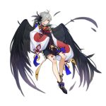 absurdres ahoge arknights black_feathers black_wings feathers grey_hair hair_over_one_eye highres lan_zhu_gu long_sleeves looking_at_viewer one_eye_covered red_ribbon ribbon short_hair simple_background tachi-e white_background wide_sleeves wings yellow_eyes