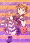 1girl :d bangs bare_shoulders bat bat_hair_ornament black_gloves breasts brown_eyes child demon_horns earrings eyebrows_visible_through_hair frilled_skirt frills ghost gloves hair_ornament halloween hiiragi_kei horns idolmaster idolmaster_shiny_colors jewelry long_hair looking_at_viewer open_mouth pumpkin skirt small_breasts smile solo sonoda_chiyoko star_(symbol) striped striped_legwear thigh-highs torn_clothes torn_legwear