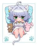 1girl absurdres animal_ear_fluff animal_ears bear blush cat_ears cat_girl cat_tail chibi clothes_writing collar commentary_request earrings eyebrows_visible_through_hair grey_hair highres jewelry looking_at_viewer lying mole mole_under_mouth ngetyan on_back original oversized_clothes panties paw_pose paw_print pillow print_pillow rabbit renge_(ngetyan) short_hair solo spiral star_(symbol) striped striped_panties stuffed_animal stuffed_toy sweater tail translation_request underwear