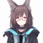 1girl animal_ear_fluff animal_ears arknights bangs black_jacket braid brown_eyes brown_hair buran_(kure) character_request collarbone commentary_request commission eyebrows_visible_through_hair female_doctor_(arknights) glasses grey_background hair_over_shoulder highres hood hood_down hooded_jacket jacket long_hair pixiv_request red-framed_eyewear semi-rimless_eyewear simple_background solo twin_braids under-rim_eyewear upper_body