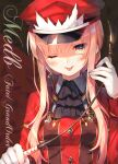 1girl :p black_neckwear blush breasts character_name copyright_name cravat fate/grand_order fate_(series) gloves hand_up hat highres holding jacket long_hair long_sleeves looking_at_viewer medb_(fate)_(all) medb_(fate/grand_order) medium_breasts one_eye_closed peaked_cap pink_hair red_headwear red_jacket riding_crop smile solo tongue tongue_out toosaka_asagi upper_body white_gloves yellow_eyes
