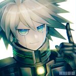 1boy android bangs character_name commentary_request danganronpa_(series) danganronpa_v3:_killing_harmony green_eyes grey_hair hand_up highres index_finger_raised keebo looking_at_viewer male_focus portrait reflective_eyes simple_background smile solo spiky_hair torimeshi_(shiroichi) white_background